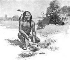 1911 depiction of Squanto teaching the Pilgrims how to cultivate corn.